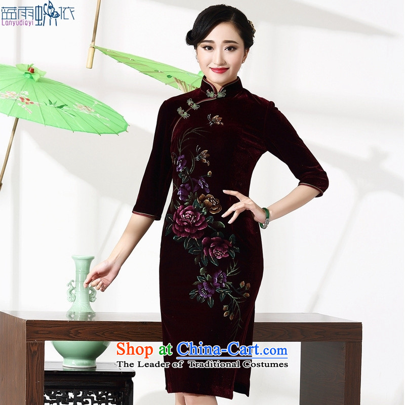 September Girl Store *2015 new moms with retro style qipao female autumn and winter 8868 English thoroughbred, cuff qipao聽M Blue rain butterfly according to , , , shopping on the Internet
