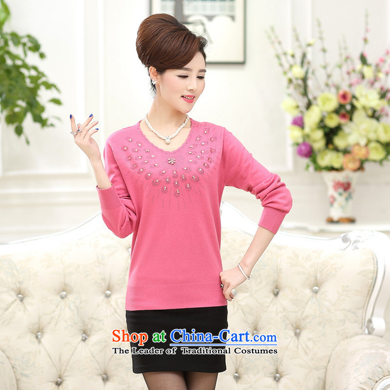 September female boutiques in color * older Autumn and Winter Sweater female peacock diamond pattern round-neck collar Knitted Shirt mother pink shirt with solid�115