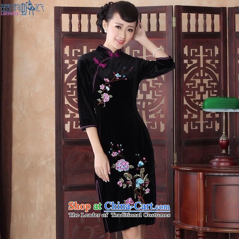 September Girl Store_ cuff cheongsam dress temperament Fall_Winter Collections Stylish retro large gold velour mother dress燬RZX0016 XXL