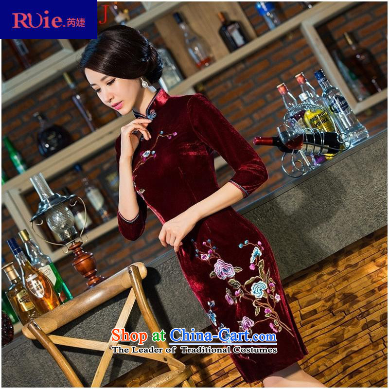 And involved shop *8101 really scouring pads middle-aged moms with embroidery qipao gown wedding-day improved in the retro-sleeved blue qipao�XXXL