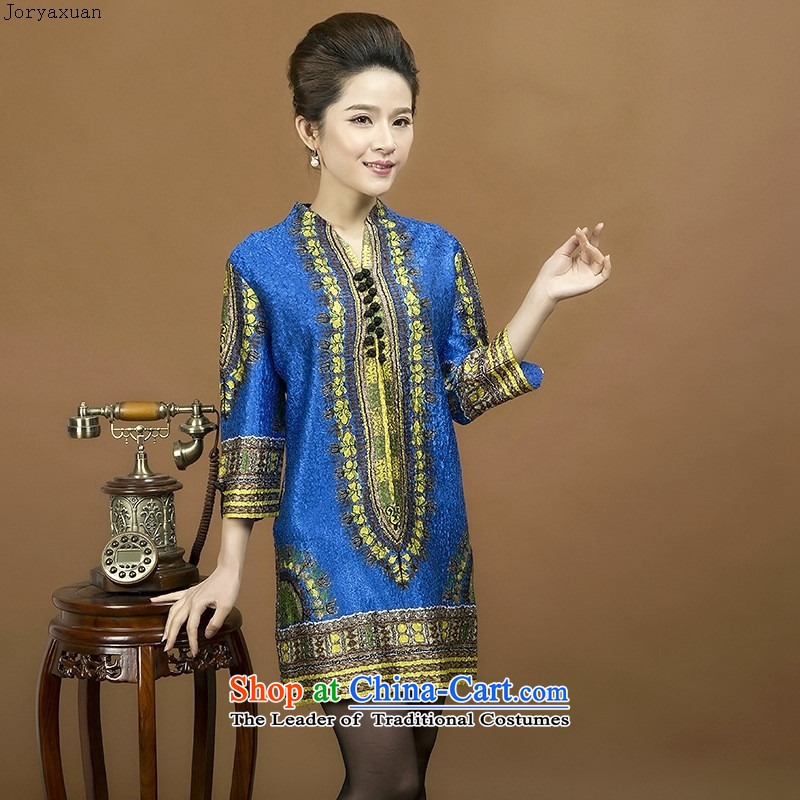 Web soft trappings of older women's spring dresses silk creases in mom long shirts during the spring and autumn replacing dress with new figure II DEEP BLUE燲L