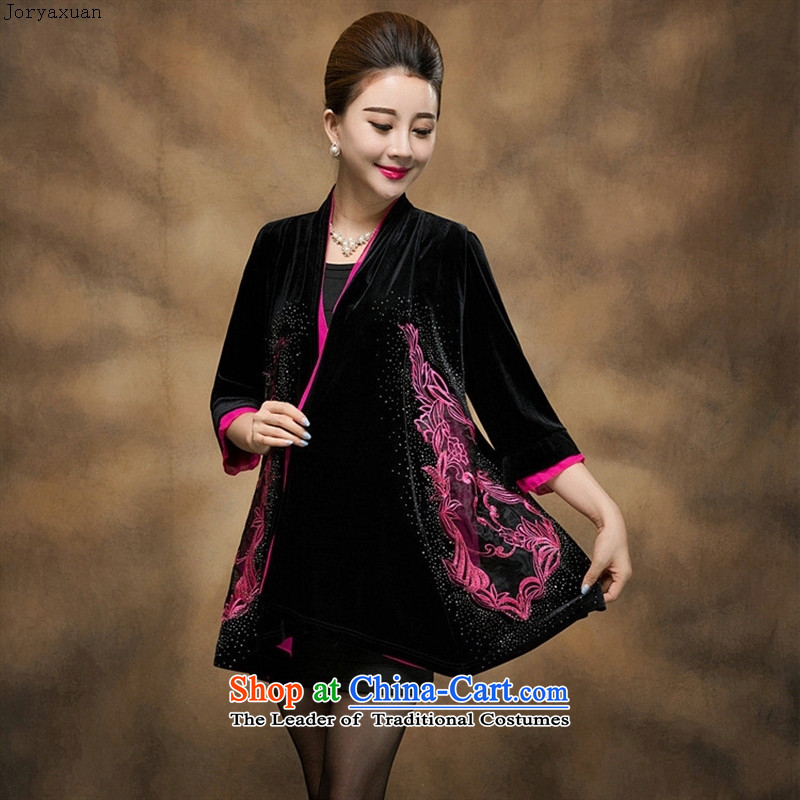 Web soft clothes in the autumn of 2015, New Older Women's gold velour embroidery middle-aged moms jackets during the spring and autumn, a mantle green�XXXXXL replacing
