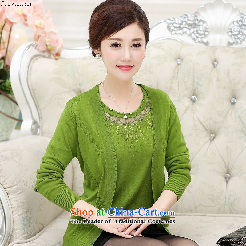 Web soft trappings of older women fall to replace xl long-sleeved Knitted Shirt with solid color true mother two kits Cardigan Orange Red�XXL