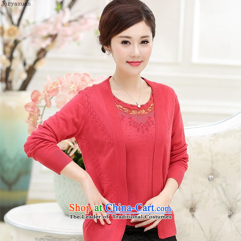 Web soft trappings of older women fall to replace xl long-sleeved Knitted Shirt with solid color true mother two kits cardigan聽XXL, Orange Red Cheuk-yan xuan ya (joryaxuan) , , , shopping on the Internet