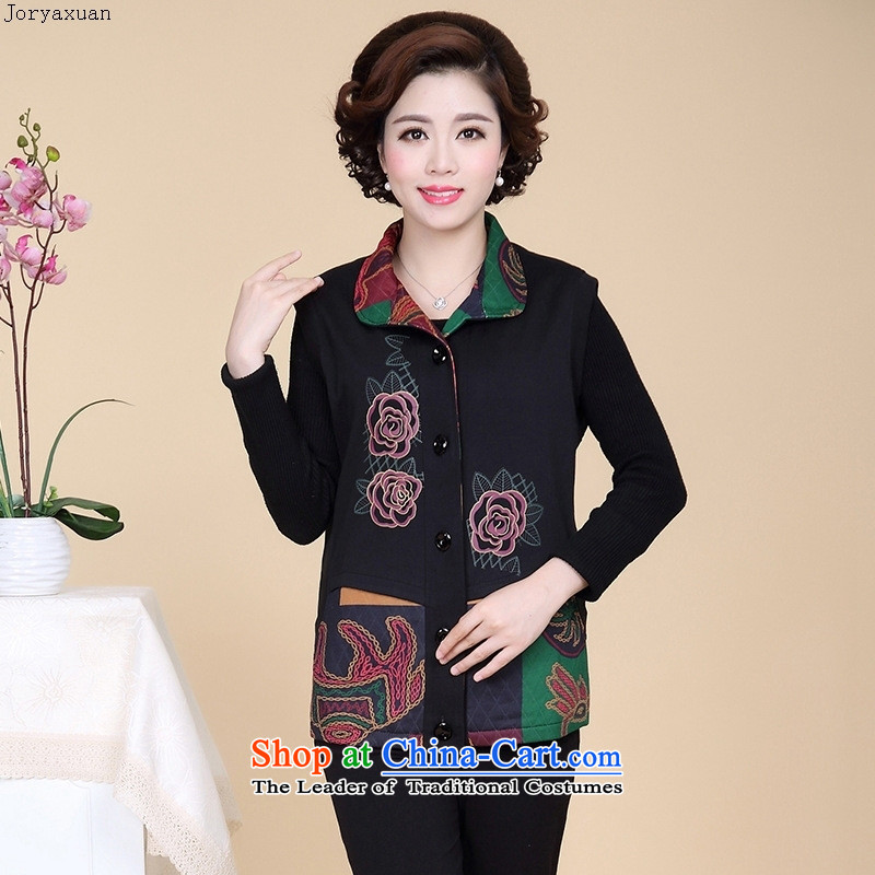 Web soft clothes in the autumn of 2015, the new elderly women knitted jacket embroidered lapel embroidery single row detained mothers with autumn replacing safflower�XL