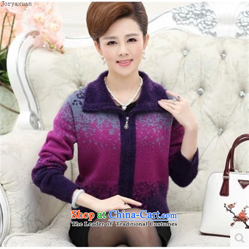 Web soft trappings of older women's autumn and winter coats loose mother replacing autumn replacing large cardigan thick sweater older persons T-shirt purple聽M