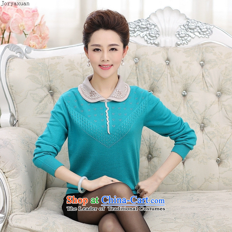 In 2015 Apparel soft web of older women with large stylish autumn long-sleeved sweater, forming the basis for middle-aged female lapel knitted shirts mother red燣