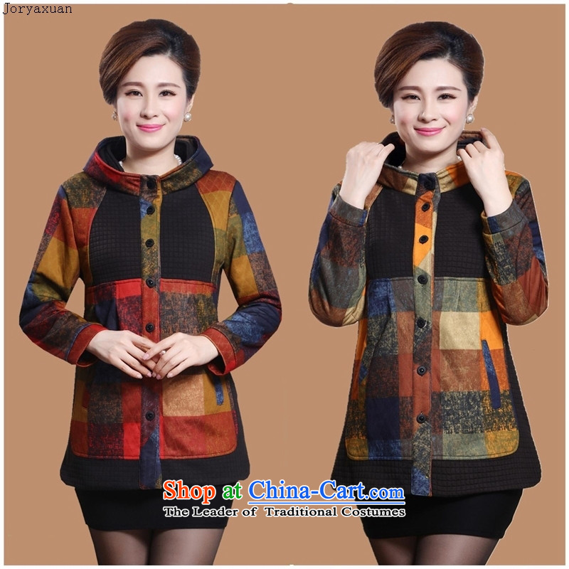 In 2015 Apparel soft web of older women's autumn and winter jackets for larger windbreaker elderly mother replacing autumn casual jacket coat red checkered?3XL