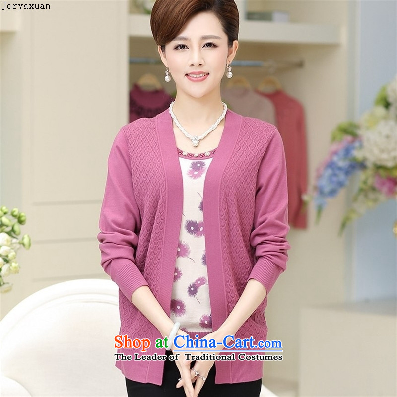 Web soft clothes, in the autumn of new stamp leave older two Knitted Shirt female new product codes woolen sweater with purple red in the mother�XXL 120