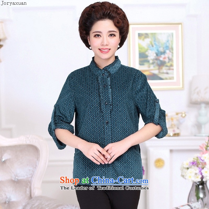 New clothes soft web of older women wear long-sleeved shirt with generous autumn casual shirts Big Mama code T-shirt purple�L