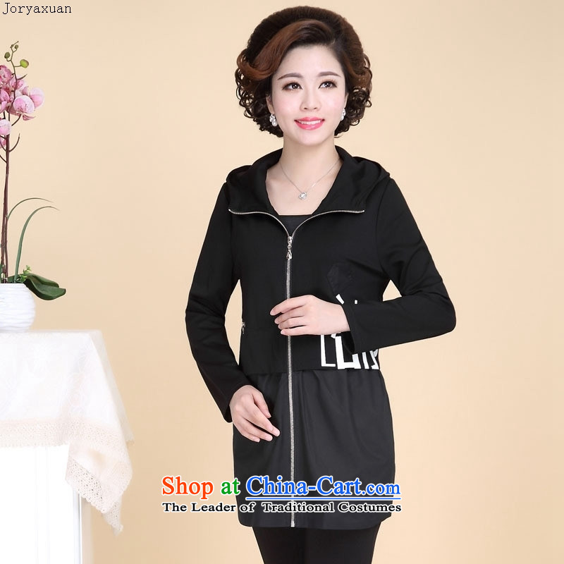 In 2015 Apparel soft web of older women fall in-the-know temperament wind load jacket MOM pack large leisure. long piece black 4XL