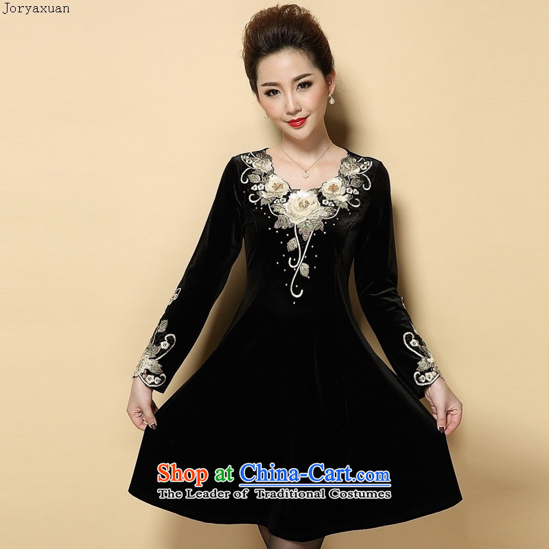 Web soft clothes for the new autumn 2015_ large older embroidery Kim scouring pads long-sleeved Sau San dresses MOM Pack Black Large XXXL