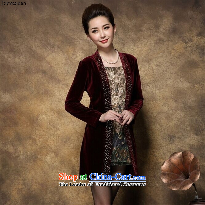 Web soft trappings of older women leave large two long-sleeved Kim velvet autumn 2015 new mother of Chinese boxed wine red�XXL