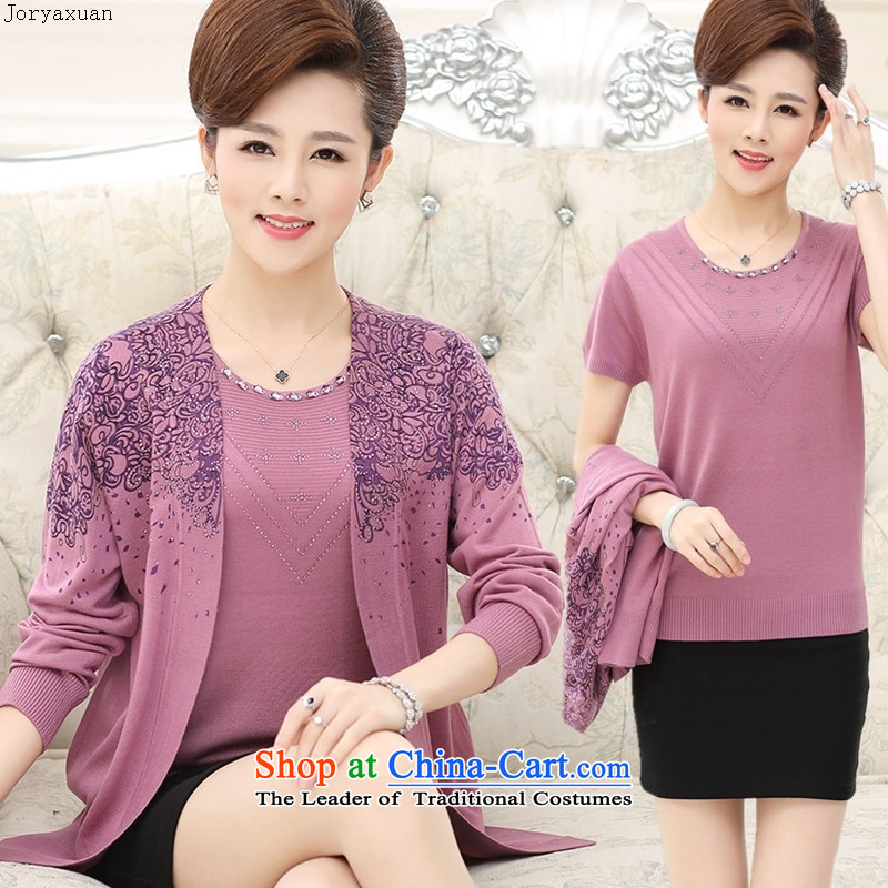 Web soft clothes for the new autumn 2015_ Older women really two kits T-shirt with large middle-aged moms knitted jackets Deep Violet?XXL
