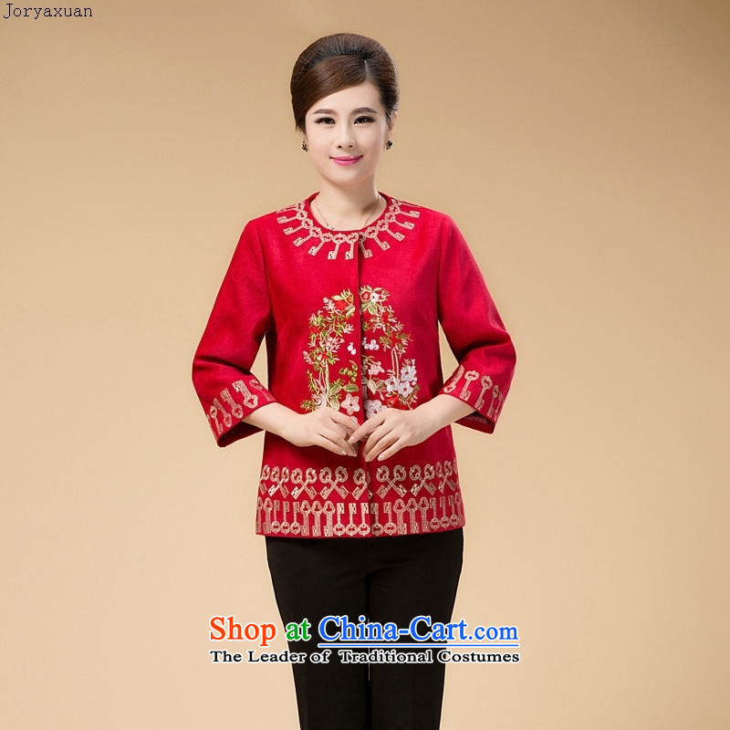 Web soft clothes in 2015 new Older Women Tang dynasty mother fall short of the jacket embroidered with middle-aged 7 to the maximum number of red sleeved燲XXL