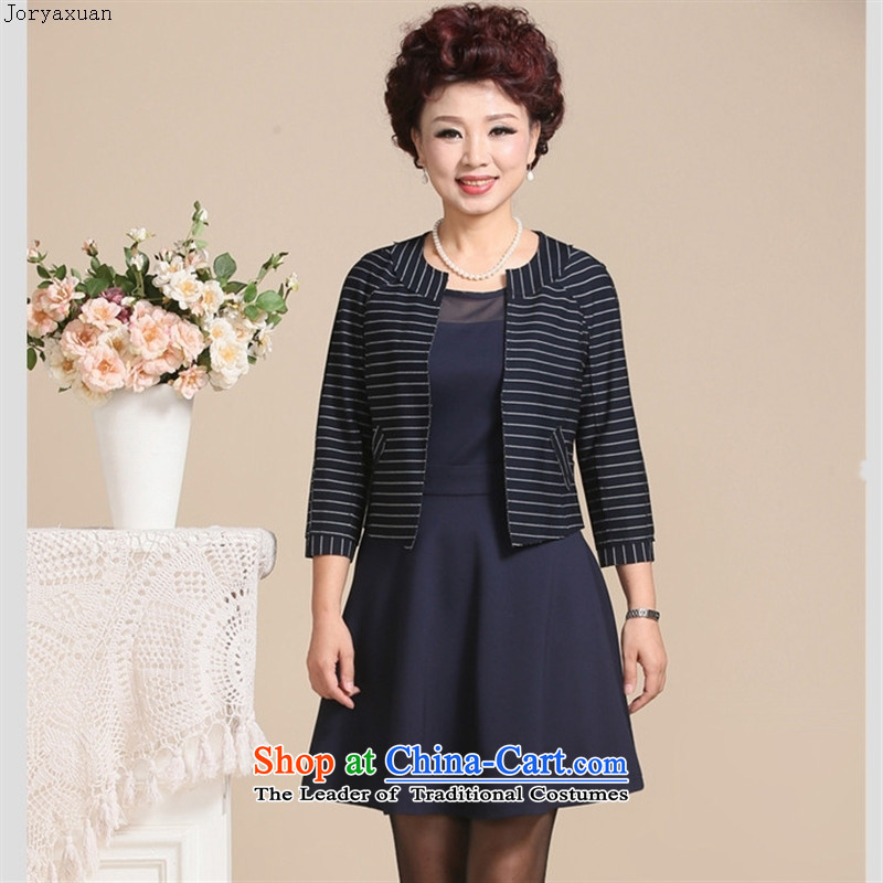 Web soft clothes in the autumn of 2015, older women's two-piece set skirt Korean mother aged 40-50 with stylish Sau San dresses blue?L