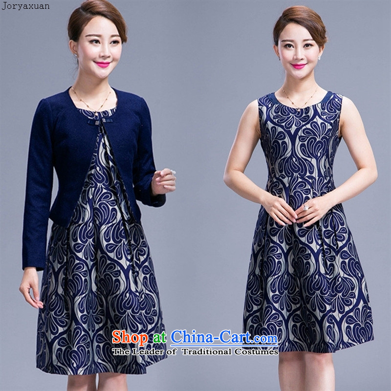 Web soft trappings of older women 2015 Autumn Replacing high-XL middle-aged moms woolen?-two children skirt kit blue?2XL