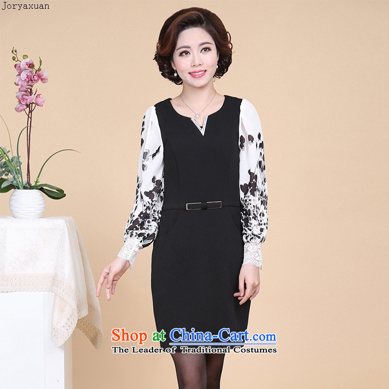 Web soft clothes for the new autumn 2015_ elderly ladies casual long-sleeved XL MOM Pack Black燲XXXL dresses