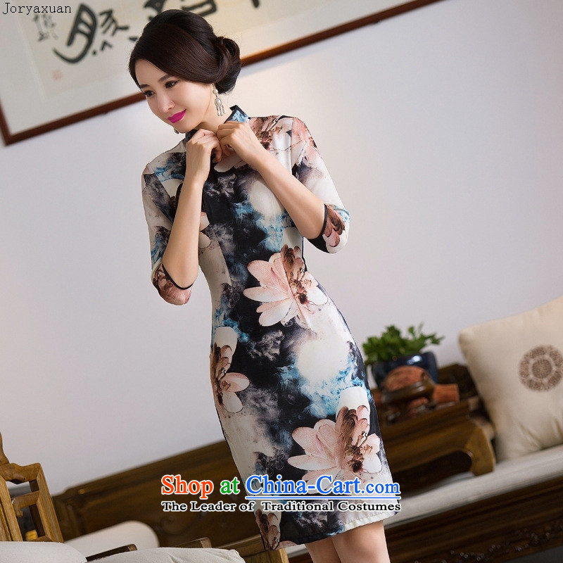Web soft silk cheongsam dress double by 2015 new fall in the medium to long term, cuff wedding banquet mother who female cheongsam dress decorated as figure?S