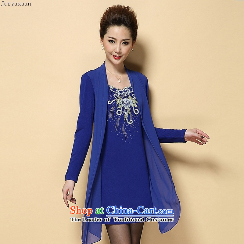 Web soft clothes for the new autumn 2015) Older temperament MOM pack large embroidered Sau San leave two kits dresses 2068 blue rose�2XL