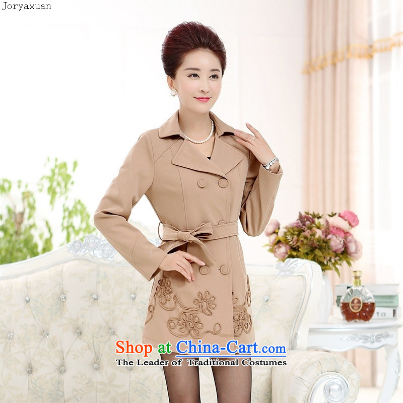 Web soft trappings of older women's autumn wind jacket new boxed stylish in middle-aged moms long upscale jacket large brown聽XXL