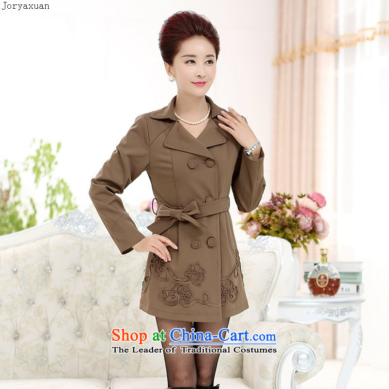 Web soft trappings of older women's autumn wind jacket new boxed stylish in middle-aged moms long upscale jacket large brown聽XXL, Cheuk-yan xuan ya (joryaxuan) , , , shopping on the Internet