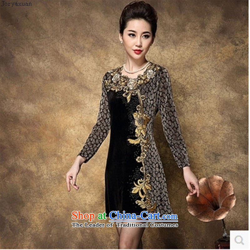 New clothes soft web velvet Kim in spring and autumn women older replacing middle-aged moms long-sleeved forming the Load Graphics thin black聽XXXL skirt