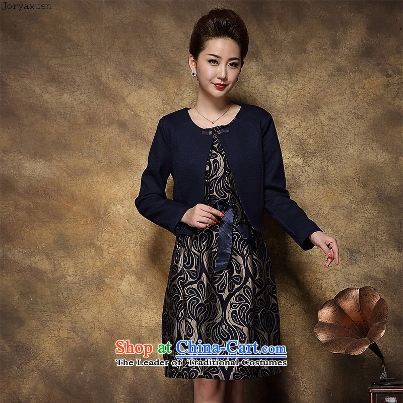 Web soft clothes autumn replacing skirt the new 2015 high-end middle-aged female Replace Replace stamp two mother kit skirt navy?L