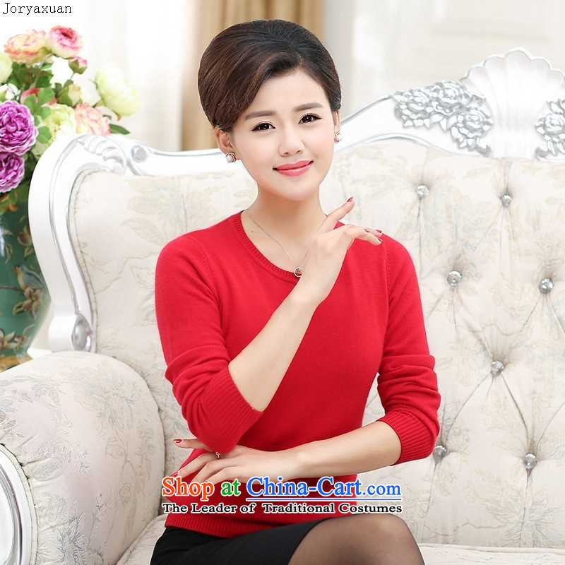 Web soft clothes, in the autumn of New Older Women's woolen sweater pure colors with Korean middle-aged moms knitting sweater, forming the V-neck-Blue 120