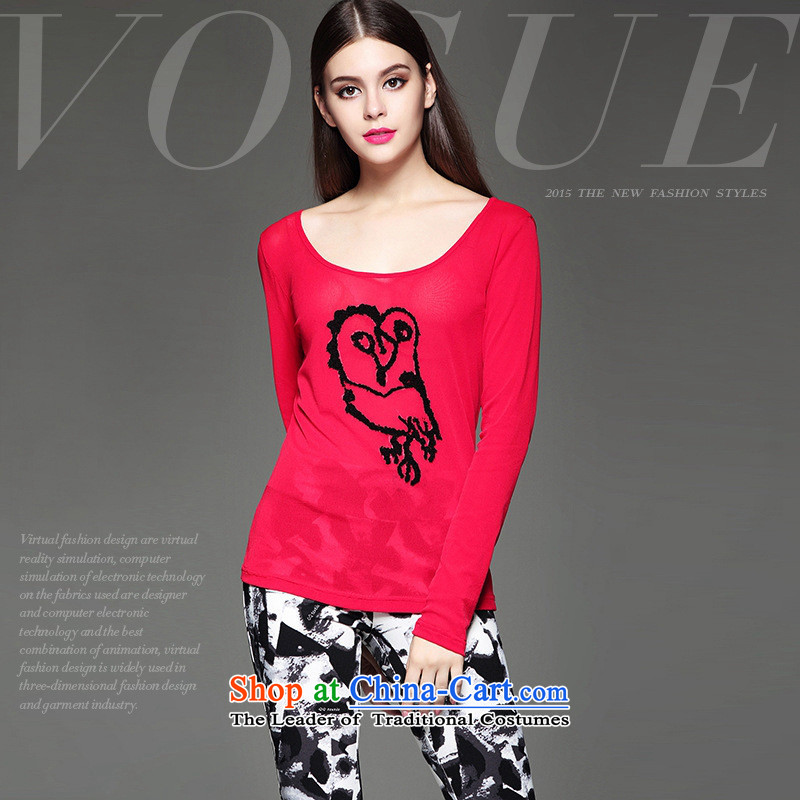The European site autumn and winter Hami female new stylish heavy industry stereo animals stamp Sau San video thin wild red T-shirt?M