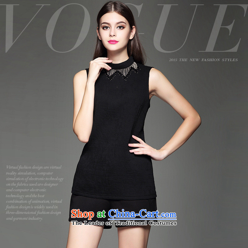 The European site autumn and winter Hami female new western minimalist heavy industry beaded decorated Sau San video thin black sleeveless shirt?M
