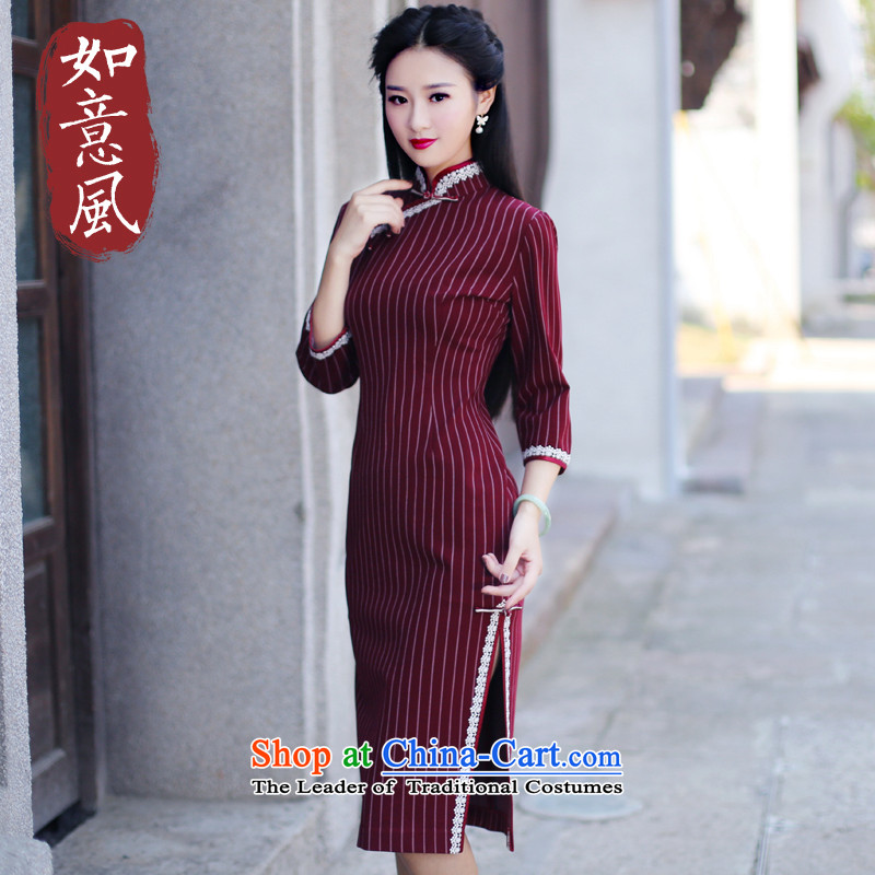 After the new improved wind 2015 daily long-sleeved cheongsam dress autumn retro improved cheongsam dress 6109 6109 RED?M