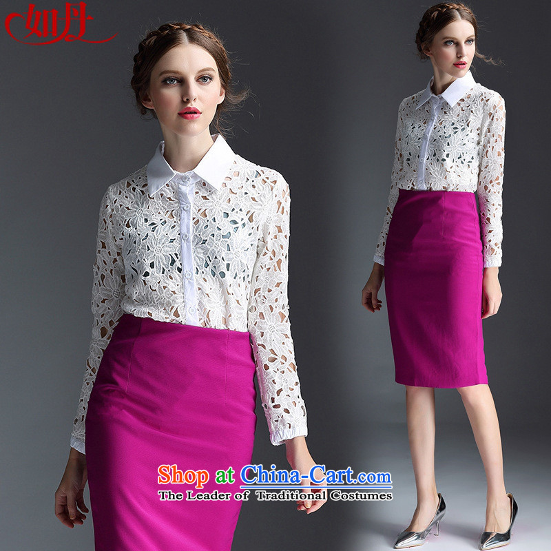 And involved shops new_ Autumn _2015 water-soluble lace engraving long-sleeved shirt + lace retro and upper body of the forklift truck package skirt two kits picture color?S