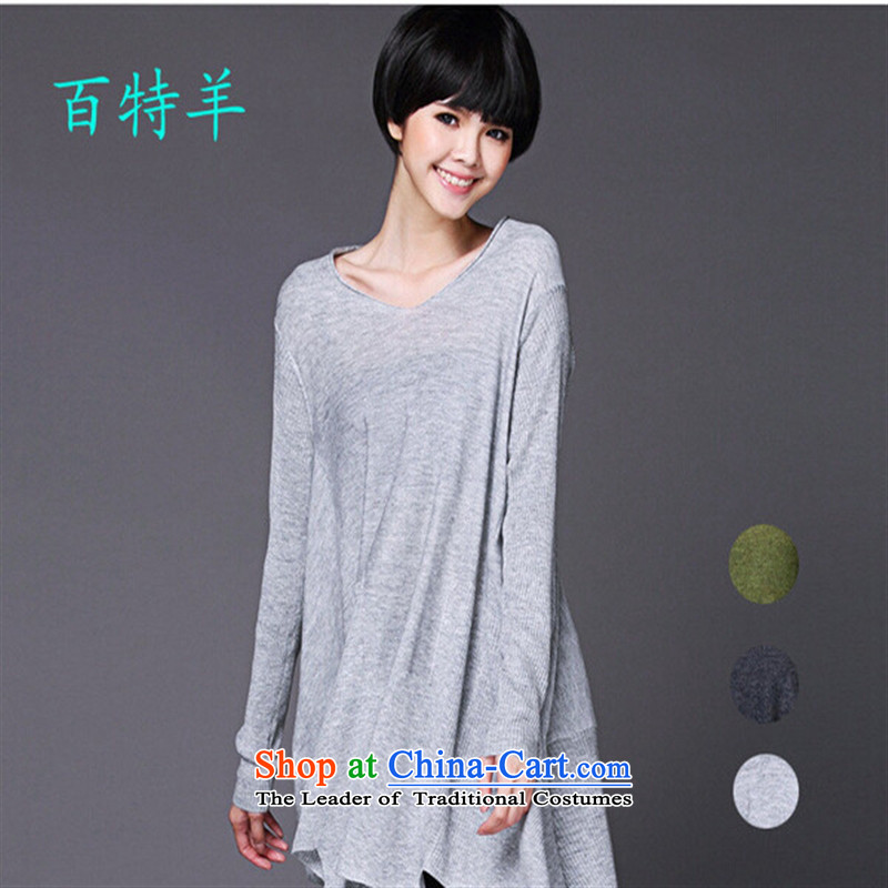 _ The autumn shops and involving the new large relaxd casual clothing long-sleeved T-shirt women 1688 Light Gray燲XSTOXL_