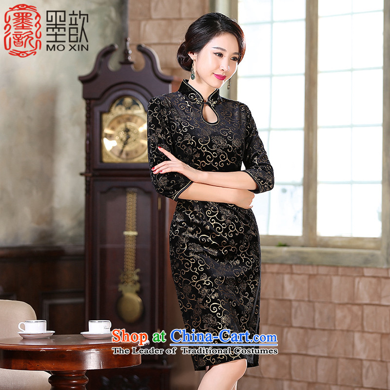 Ink Kim Un 2015 Hot 歆 gold stamp scouring pads improved qipao autumn new_ long load qipao gown qipao mother skirt ZA9807 Black XL