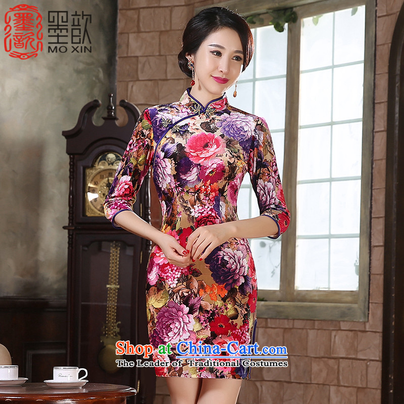 The autumn聽2015 Hong Kong improved 姝� qipao fall inside the new seven-sleeved Ms. qipao in Sau San long antique style qipao skirt聽ZA9808聽picture color聽L