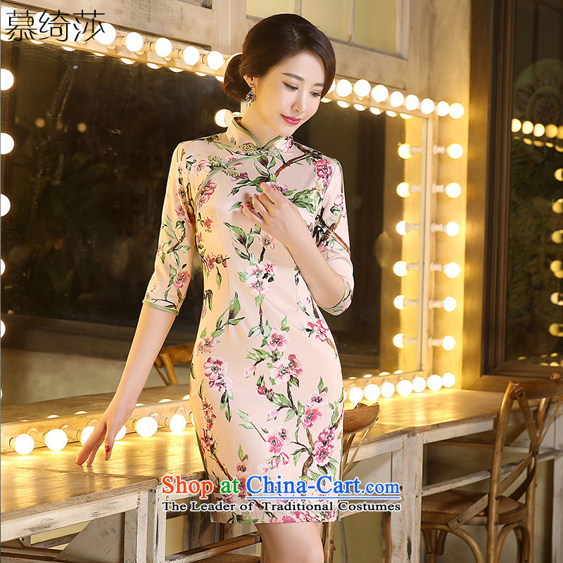The cross-sa hidee聽retro improved qipao autumn 2015. Long stylish ethnic cheongsam dress in long qipao ZA3C03 Ms. picture color聽2XL