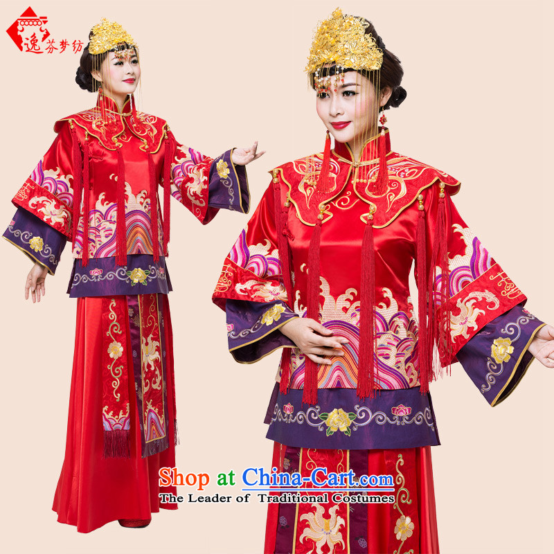 Stephen Yat dreams woven Cherrie Ying Sau Wo service with service-soo drink bride wo long-sleeved Long Feng crown embroidered Chinese style wedding costume red�S