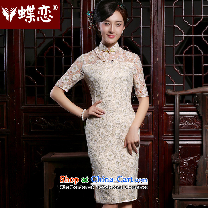 Butterfly Lovers autumn 2015 New Stylish retro short-sleeved daily short of Sau San lace cheongsam dress figure燲XL