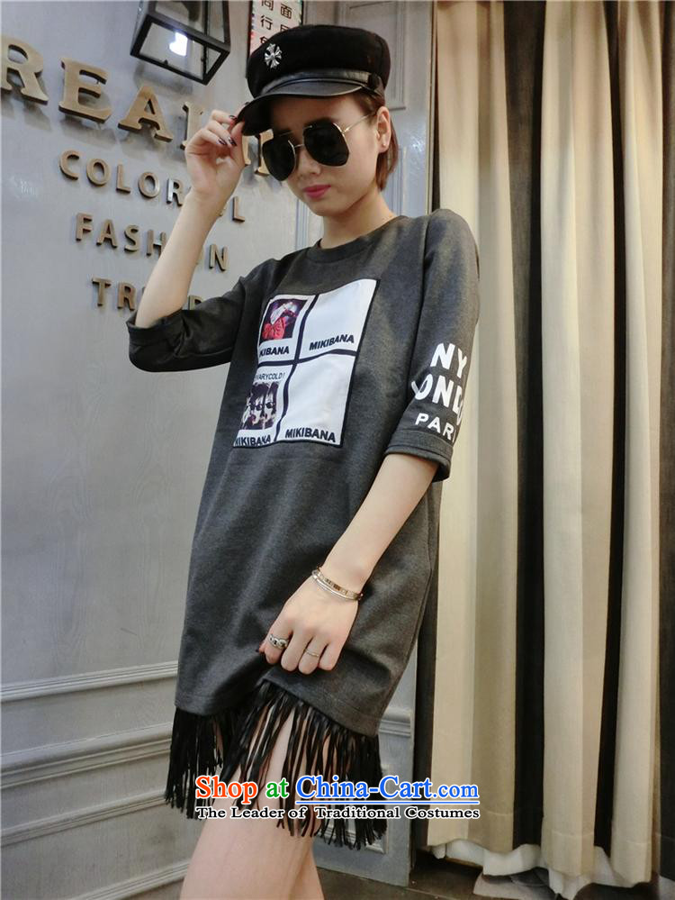 Ms Rebecca Pun stylish shops 2015 Autumn) New Korean female Pure cotton T-shirt with a straight 7 stamp cuff Flow Bottom T-shirts soda will gray photo, prices, brand platters! The elections are supplied in the national character of distribution, so action, buy now enjoy more preferential! As soon as possible.