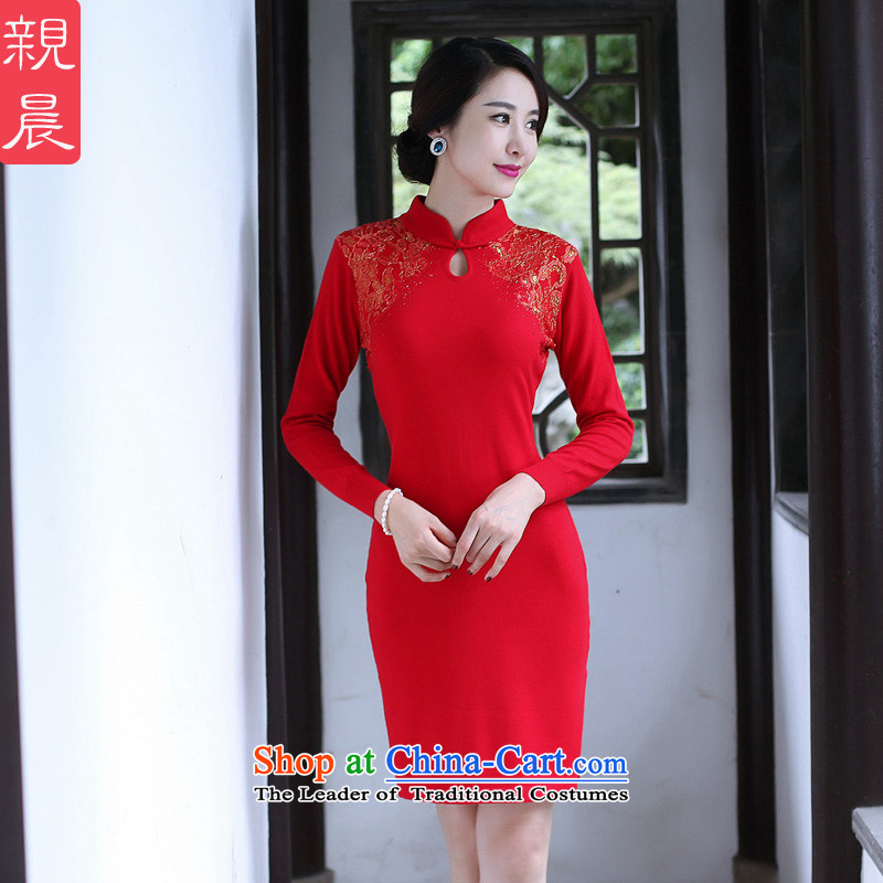 2015 Autumn and winter cheongsam dress the new bride woolen knitted improved long-sleeved short of stylish Ms. Sau San dresses red燲L