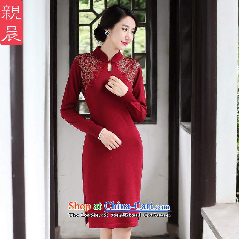2015 Autumn and winter cheongsam dress the new bride woolen knitted improved long-sleeved short of stylish Ms. Sau San dresses wine red燤