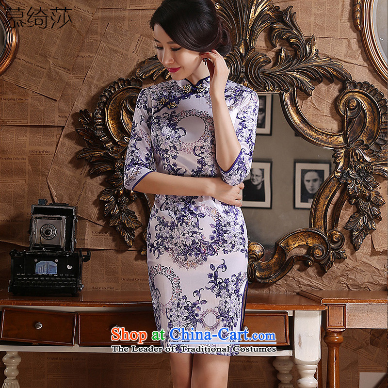 The cheer her purple flowers爁all 2015 retro fitted cheongsam dress new daily improved cheongsam dress in long porcelain qipao燴A3G06爌urple�L