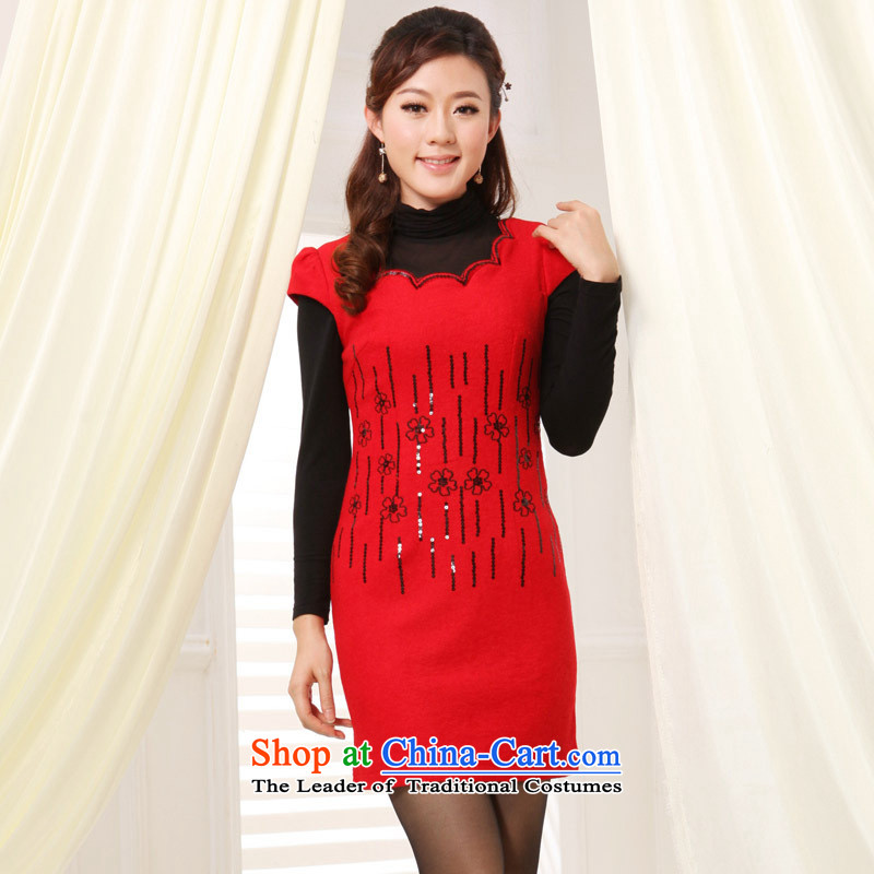 The autumn and winter Tang dynasty new improved silk dresses on chip retro lace cheongsam dress cheongsam red XL