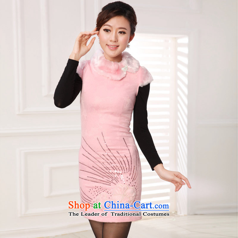 The autumn and winter new products for improvement of qipao and stylish gross antique Chinese Han-Tang Gown cheongsam dress White?XL
