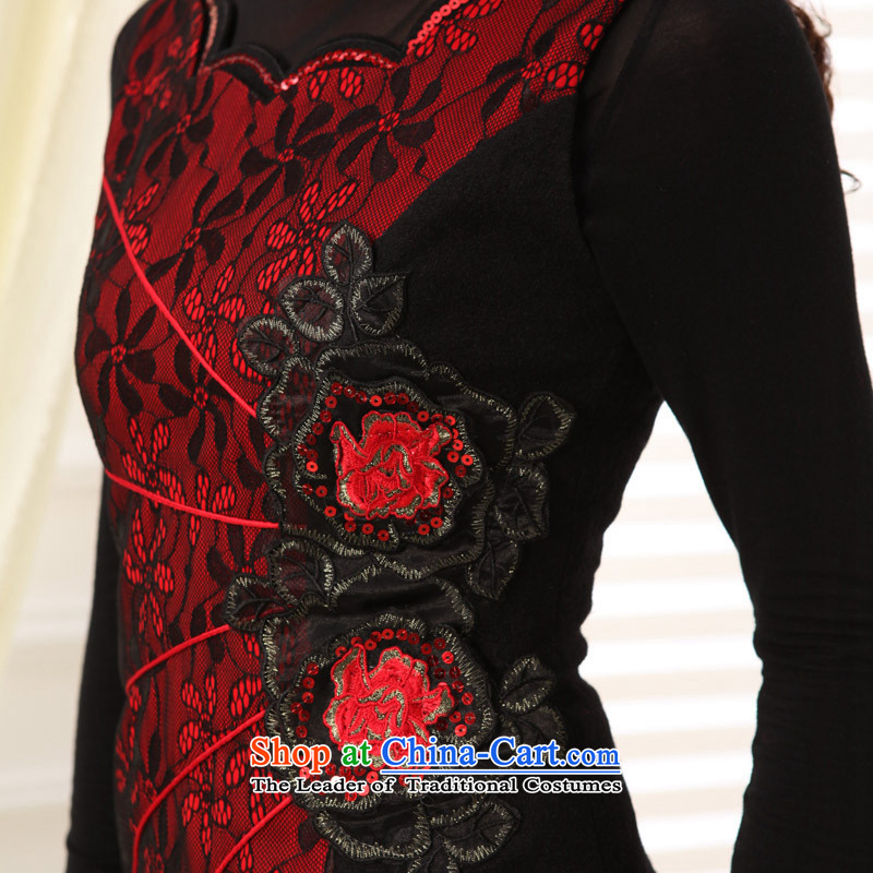 The autumn and winter new products embroidery qipao stylish improved short cheongsam dress Ms. Tang dynasty blue聽, L, and involved (rvie.) , , , shopping on the Internet