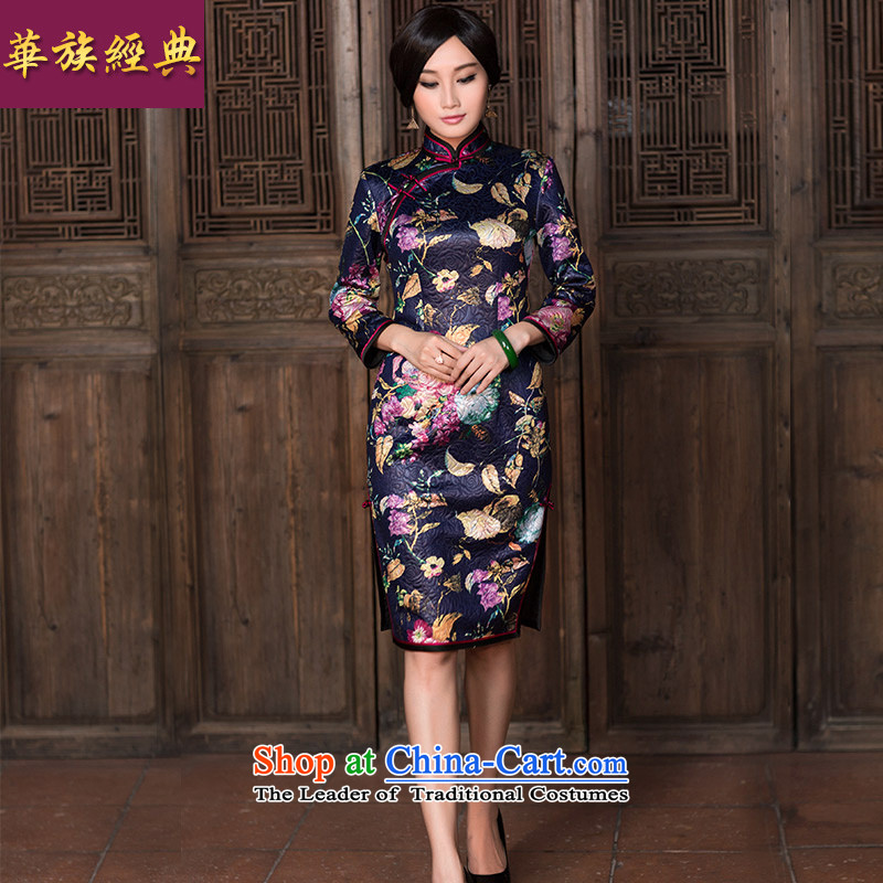 China Ethnic classic autumn and winter new noble retro long-sleeved daily Chinese cheongsam dress of the Republic of Korea, improved wind suit�S