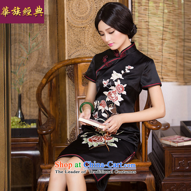 Chinese Classic New fall ethnic, silk embroidery herbs extract routine cheongsam dress Chinese classical and elegant color photo of Sau San?L