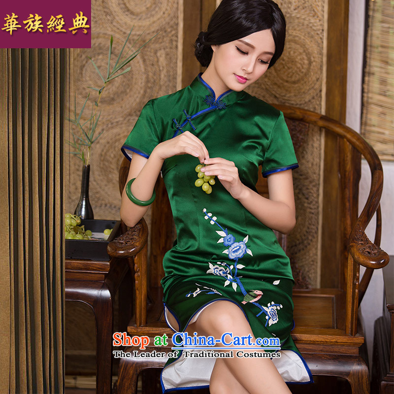 Chinese New Year 2015 classic ethnic autumn silk embroidery herbs extract retro cheongsam dress Chinese Dress classical picture color燲L