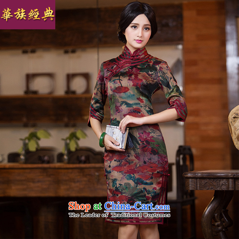 China Silk Fall Classic-heung-cloud yarn daily qipao Chinese antique dresses elegance qipao skirt picture color    ?L